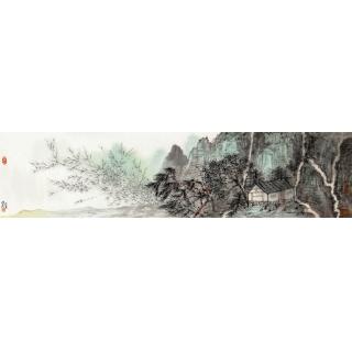 【询价】中国美协 张照兵四尺对开山水画《惠风和畅》
