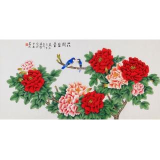 画家凌雪新品国画牡丹图《花开富贵》