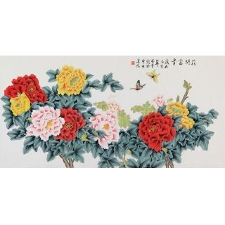 北京美协 凌雪四尺横幅工笔牡丹画《花开富贵》
