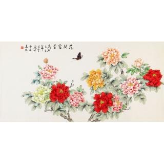 凌雪牡丹图 国画花鸟牡丹蝴蝶图《花开富贵》
