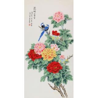 【已售】凌雪工笔牡丹画新作《花开富贵》