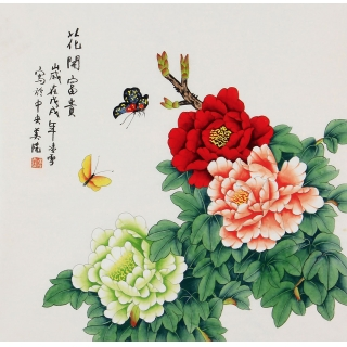 卧室装饰画 凌雪斗方牡丹画《花开富贵》