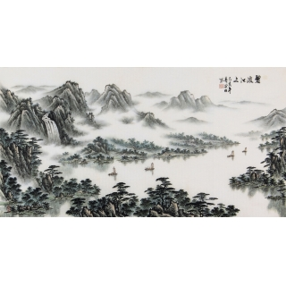 袁发旺三尺横幅青绿山水画《碧波江上》