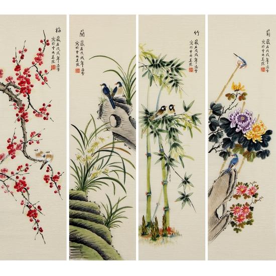 国画四君子 凌雪四条屏写意花鸟画《梅兰竹菊》