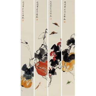 【已售】白石后人王子儒四条屏作品《吉祥如意》
