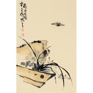 【已售】齐白石嫡传弟子 王子儒写意兰花图《兰草》