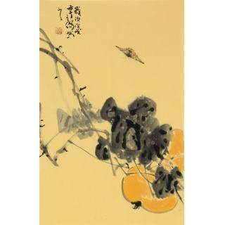 【已售】吉祥果蔬画 画家王子儒国画作品《葫芦》