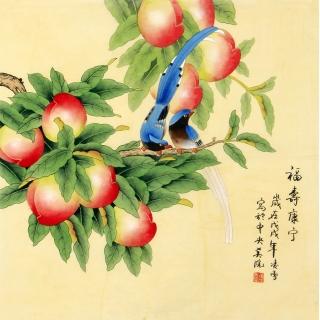 花鸟画家凌雪工笔画作品喜鹊寿桃《福寿康宁》