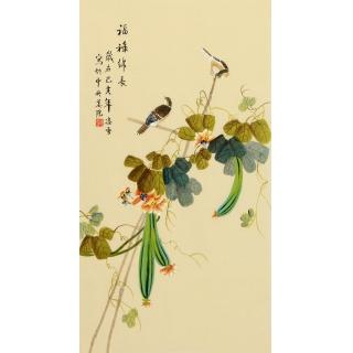 【已售】凌雪三尺竖幅花鸟画《福禄绵长》