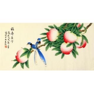长寿图 凌雪三尺横幅花鸟画作品《福寿康宁》