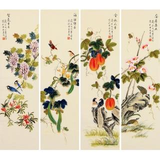 凌雪写意花鸟画四条屏《花香四溢图》