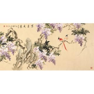 国画紫藤图 石艺博四尺横幅花鸟画《紫气东来》