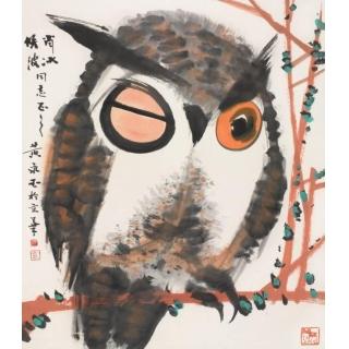 名家字画 黄永玉四尺斗方动物画《猫头鹰》