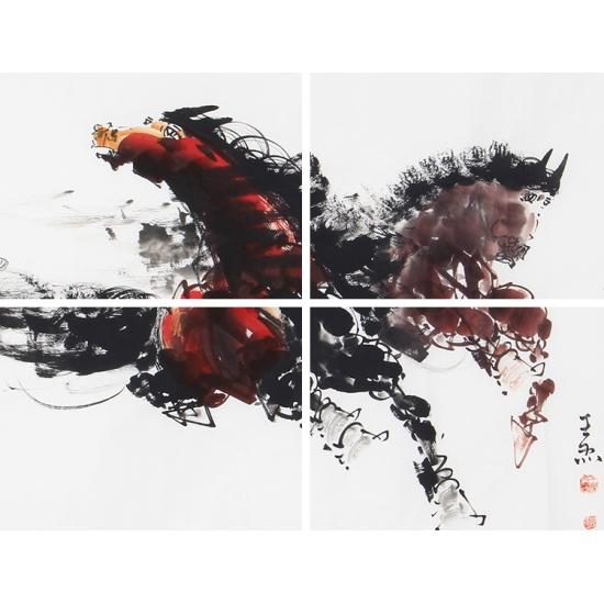 办公室挂画 王杰四尺横幅动物画作品马《志远行天下》