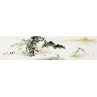 【已售】实力派画家云天四尺对开山水画《松下访友图》