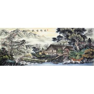 徐承国八尺横幅精品山水画作品《故乡情韵》