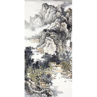 写意国画 李朴四尺竖幅新品山水画《仿古人笔意》