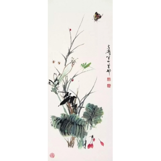 国画大师王雪涛花鸟画作品《兰草》