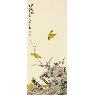 名人字画 田世光三尺竖幅工笔花鸟画《争春图》