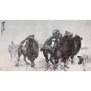 中国国画艺术大师黄胄作品《洪荒雪原》