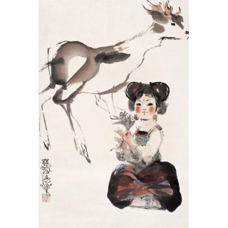 程十发人物画精品《少女与鹿》