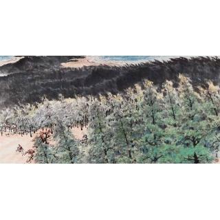 岭南画派代表人物 关山月四尺横幅山水画《绿色长城》