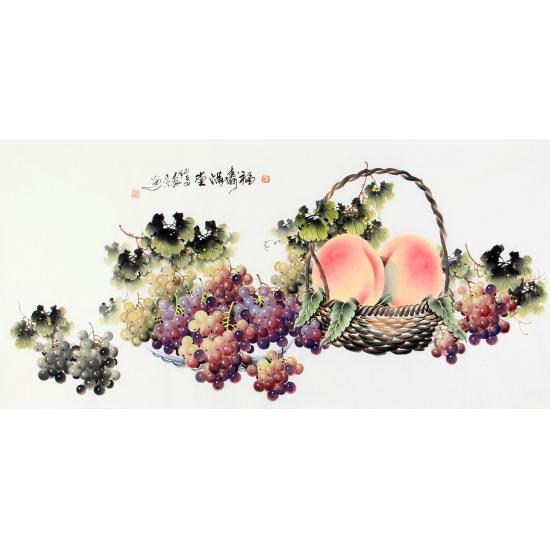 李正宗新品写意花鸟画寿桃葡萄图《献寿图》