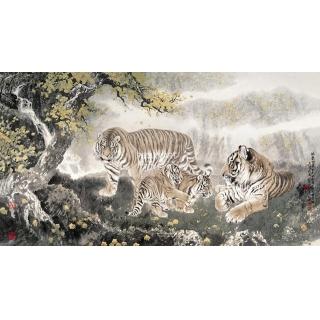 伏虎草堂主人 冯大中四尺横幅工笔动物画《林泉之乐》