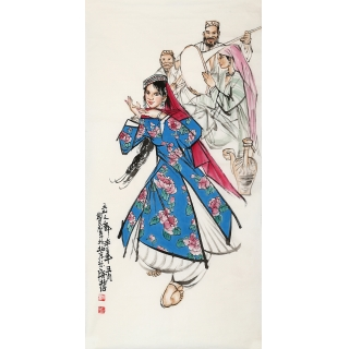 著名画家史国良四尺竖幅人物画《天山之舞》