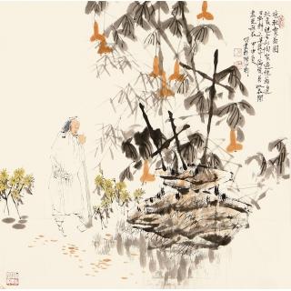 王明明四尺斗方人物画《晚秋赏菊图》