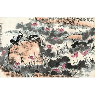 李苦禅大写意花鸟画《盛夏图》