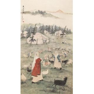 长安画派的创始人 赵望云国画人物画《天山薄暮》