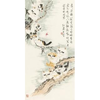 """书画大家""""百岁猫王""""孙菊生国画动物画猫《耄耋图》"""
