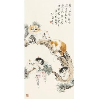 名家字画 孙菊生国写意动物画猫《耄耋图》