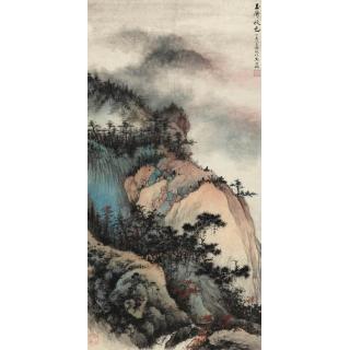 山水大师 吴湖帆国画山水作品《玉屏秋色》
