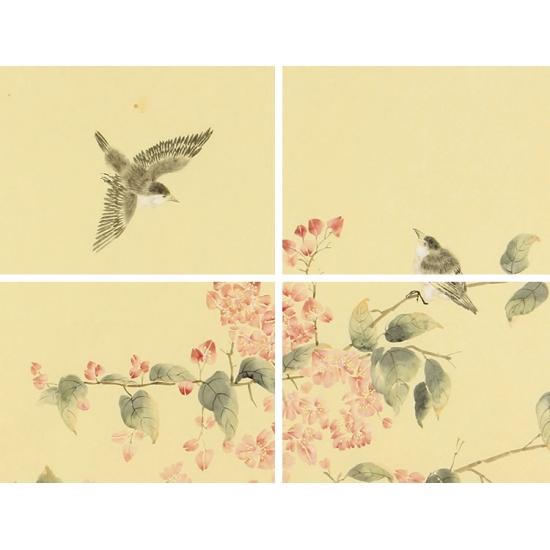 中国美协会员 官春英斗方工笔花鸟画《穷款》