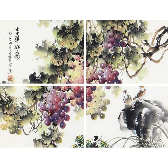 国画名家李正宗最新葡萄图《吉祥如意》