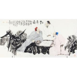 赵大伟四尺横幅人物画作品《对弈图》