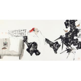 中美协会员赵大伟四尺横幅人物画高士图《口中言少心中事》