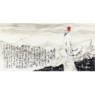 赵大伟四尺横幅写意人物画《狂人风》