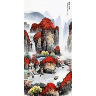 墙壁装饰画 杨炳钧三尺竖幅聚宝盆山水画作品《秋山闲云》
