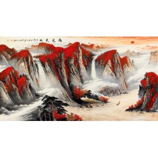 【已售】万山红遍聚宝盆 陈厚刚六尺横幅风水画《鸿运天成》
