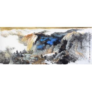 【已售】李朴六尺横幅泼墨重彩山水画作品《画图今日写秋聲》