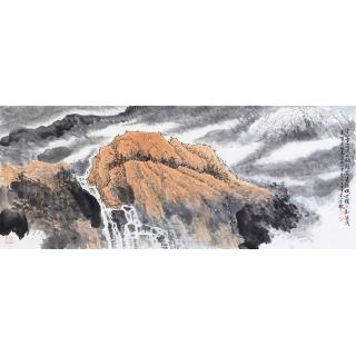 【已售】李朴六尺横幅泼墨重彩山水画作品《空山消溪水》