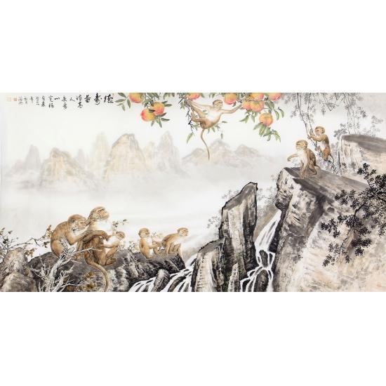 送礼佳作 书画名家郝海兵六尺横幅国画猴子《德寿图》