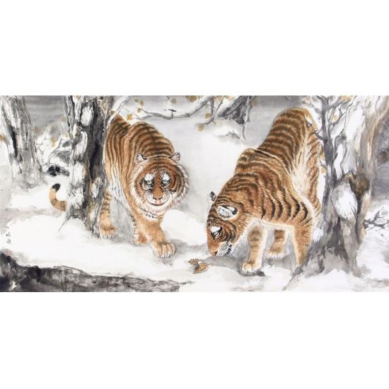 家居装饰画 马作武四尺横幅工笔动物画 老虎图《雪野雄风》