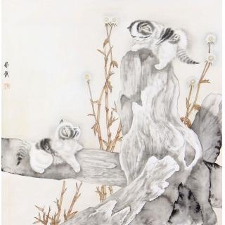 工笔国画猫 马作武斗方动物画《耄耋图》