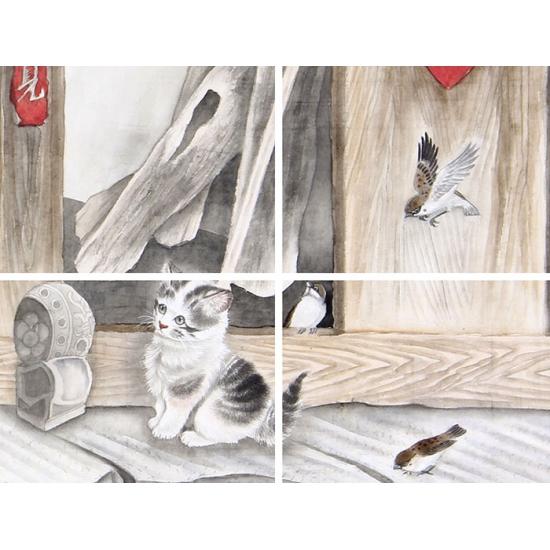 家居装饰画 马作武新品工笔动物画《猫趣图》