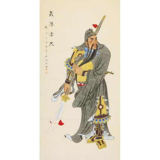 张琳四尺竖幅人物画作品关公《义薄云天》