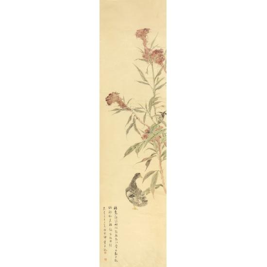 林铭锋四尺对开花鸟画作品《鸡冠》